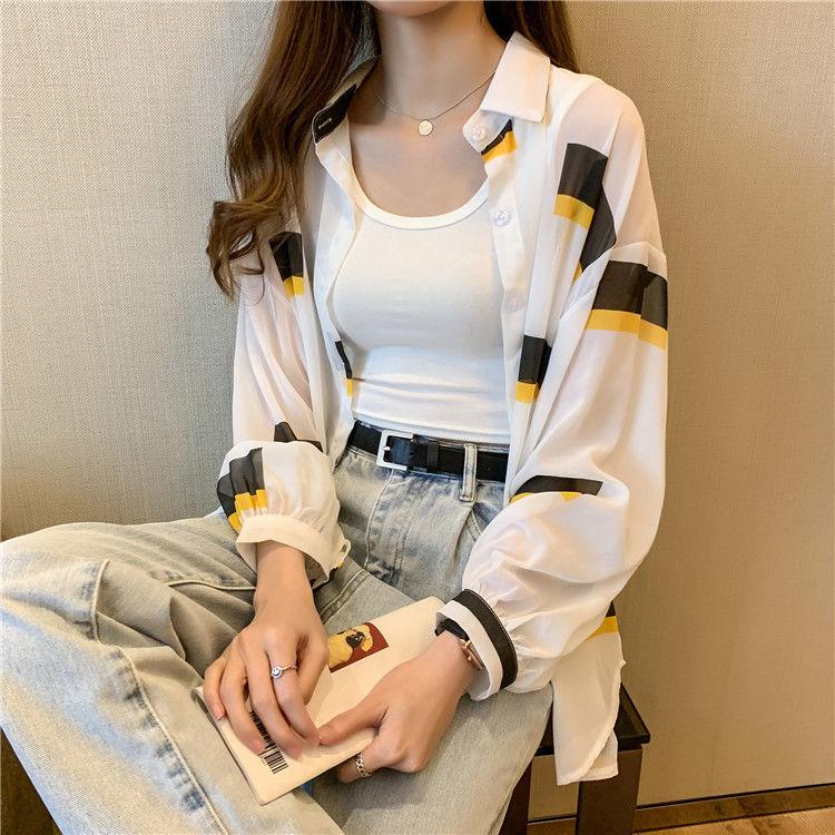 实拍2021棉文艺复古格子衬衣女韩版宽松磨毛长袖bf风衬衫打底上衣