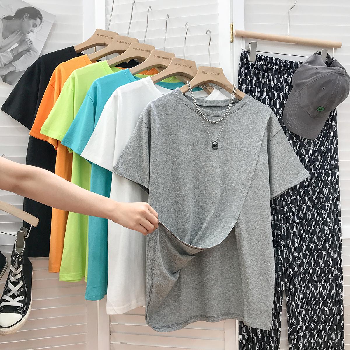 3550#官图实价 65聚酯纤维 30棉 5氨纶 2021夏季纯色开叉短袖T恤