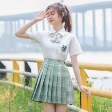 实拍现货小倾心jk制服格裙新款半身裙学院风套装衬衫女
