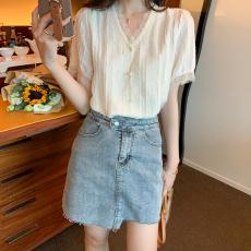 实拍现货好质量遮肚子雪纺衫女短袖很仙的上衣洋气蕾丝衫超仙夏季