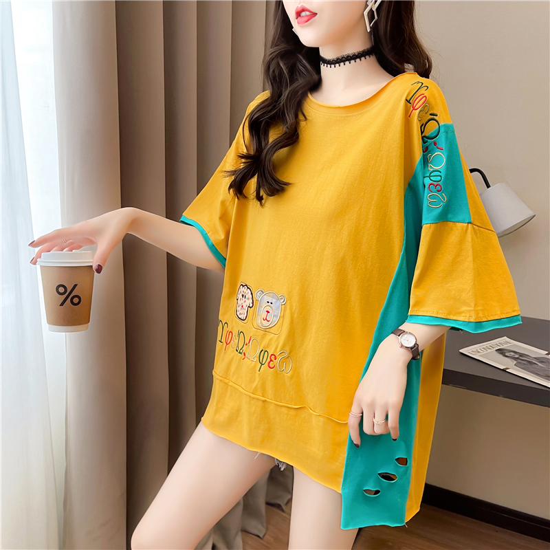 实拍新款T恤女短袖宽松中长款拼接韩版网红ins潮小心机上衣