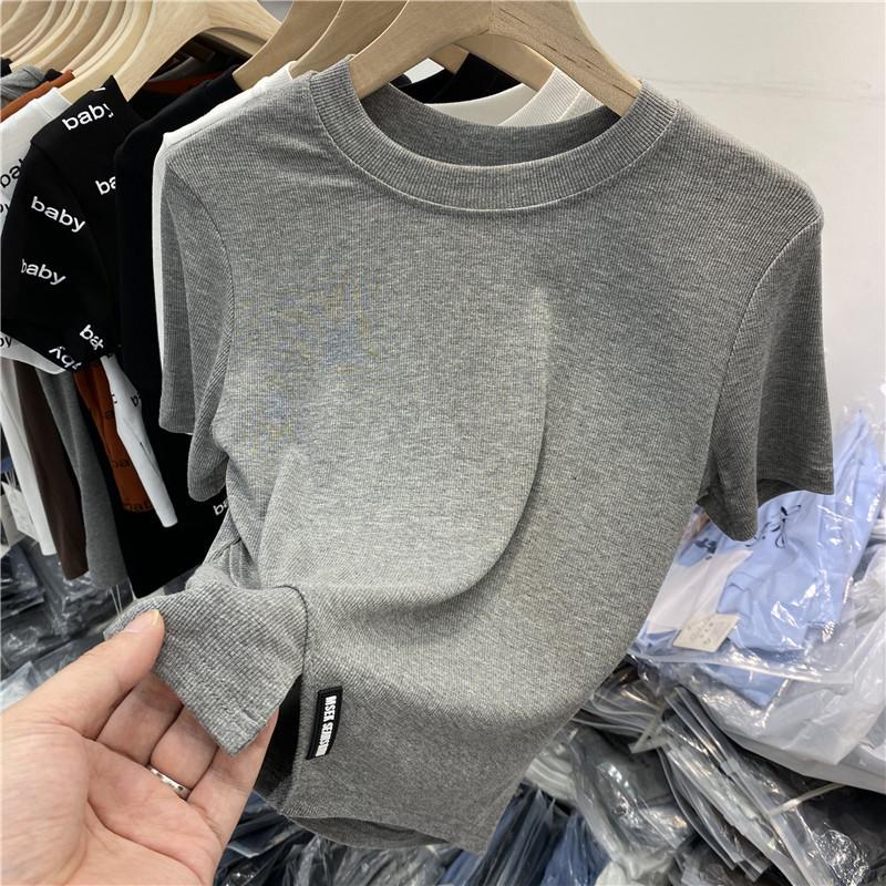 1268#官图实价 75聚酯纤维 25棉 2021夏季下摆开叉圆领短袖T恤