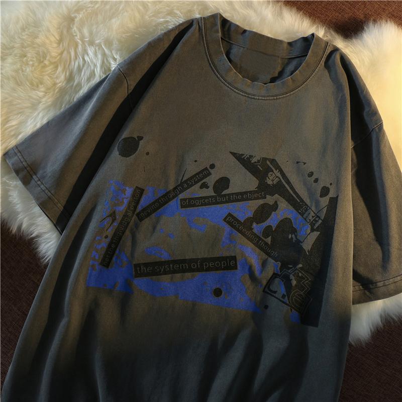 1271#官图实价 65聚酯纤维 30棉 5氨纶 2021夏季图案宽松短袖T恤