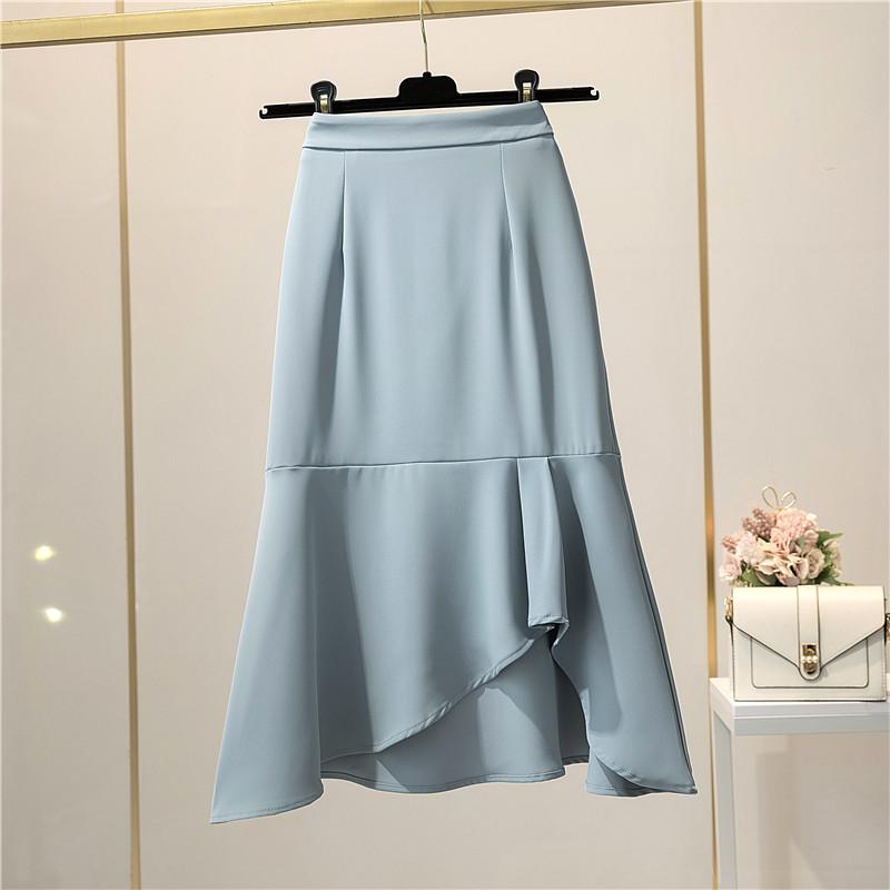 不规则荷叶边鱼尾裙半身裙女2021夏季气质过膝包臀中长款a字裙子