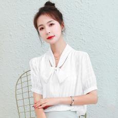 雪纺衫女短袖衬衣高档洋气小衫上衣2021夏季新款设计感小众衬衫