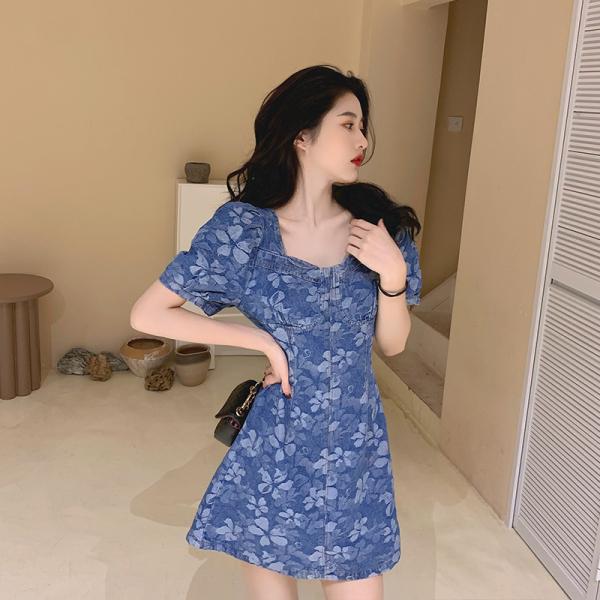 RS15016#大码女装韩版方领牛仔印花泡泡袖收腰连衣裙胖mm显瘦气质裙