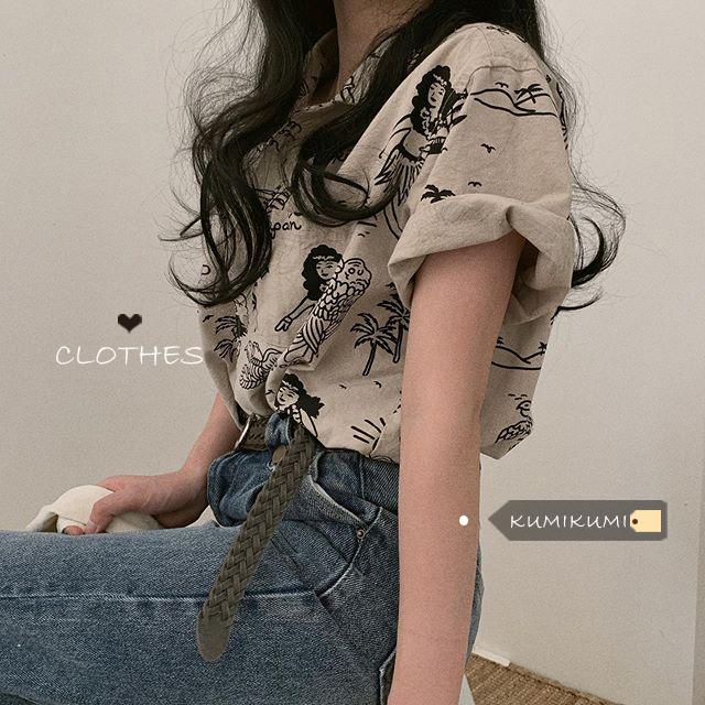法式小众复古翻领polo衫短袖衬衣夏季宽松时尚趣味印花衬衫上衣女