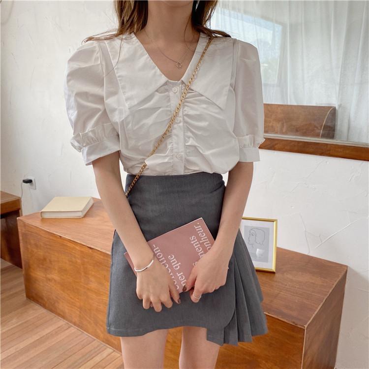 夏季韩版设计感小众白色衬衫甜美木耳边泡泡袖衬衣短款法式上衣女