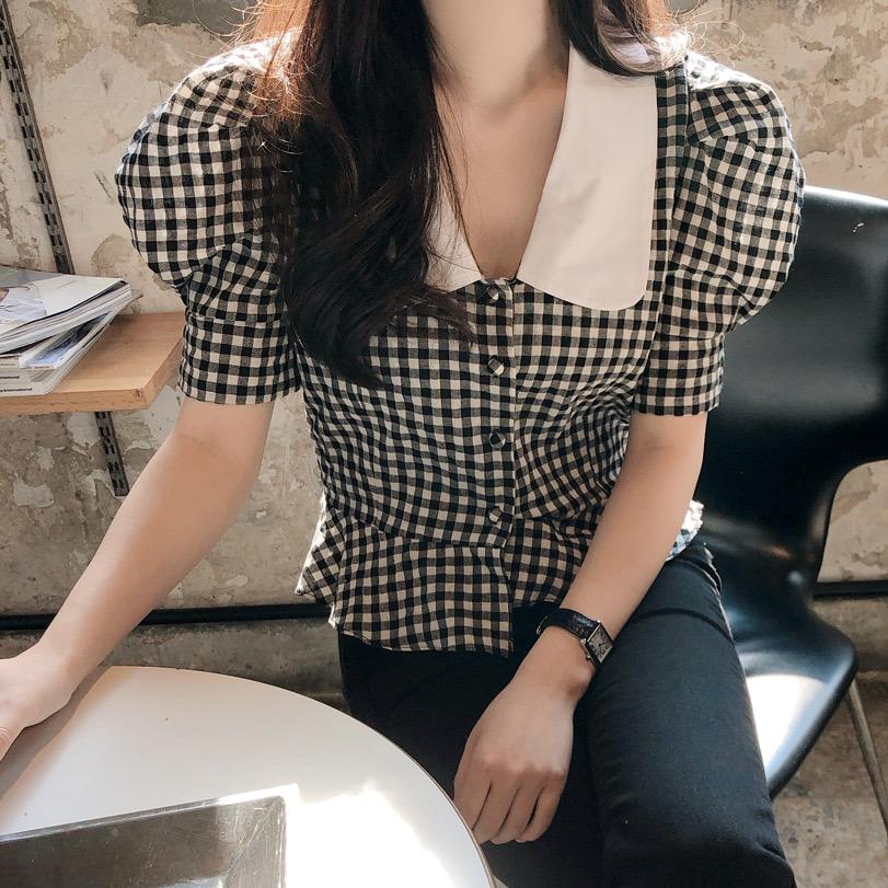 经典黑白格纹撞色拼接 法式气质娃娃领泡泡袖小外套衬衫开衫