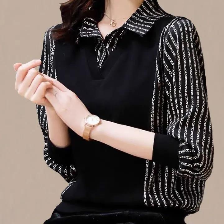 襯衫女士新款2021年早春內搭毛衣假兩件套高品質上衣歐貨顯瘦襯衣