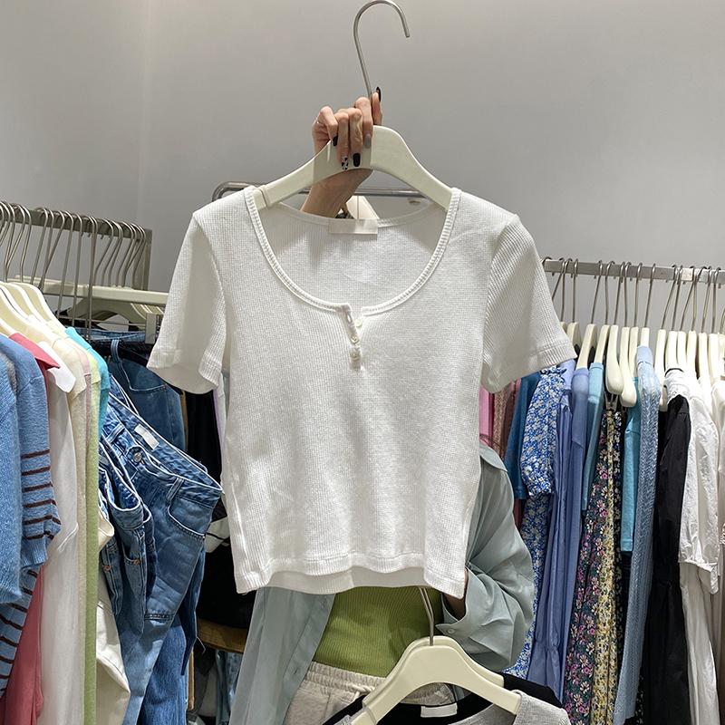 1284#官图实价 65聚酯纤维 30棉 5氨纶2021新款露脐短袖T恤小衫