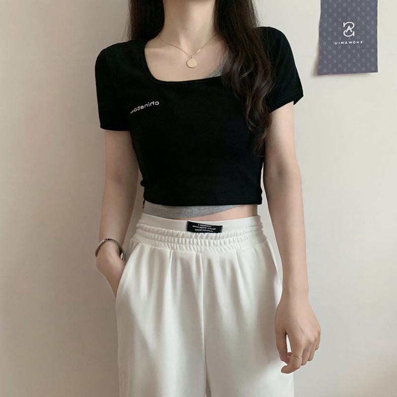 3575#官图实价 65聚酯纤维 30棉 5氨纶2021新款小衫假两件短袖T恤