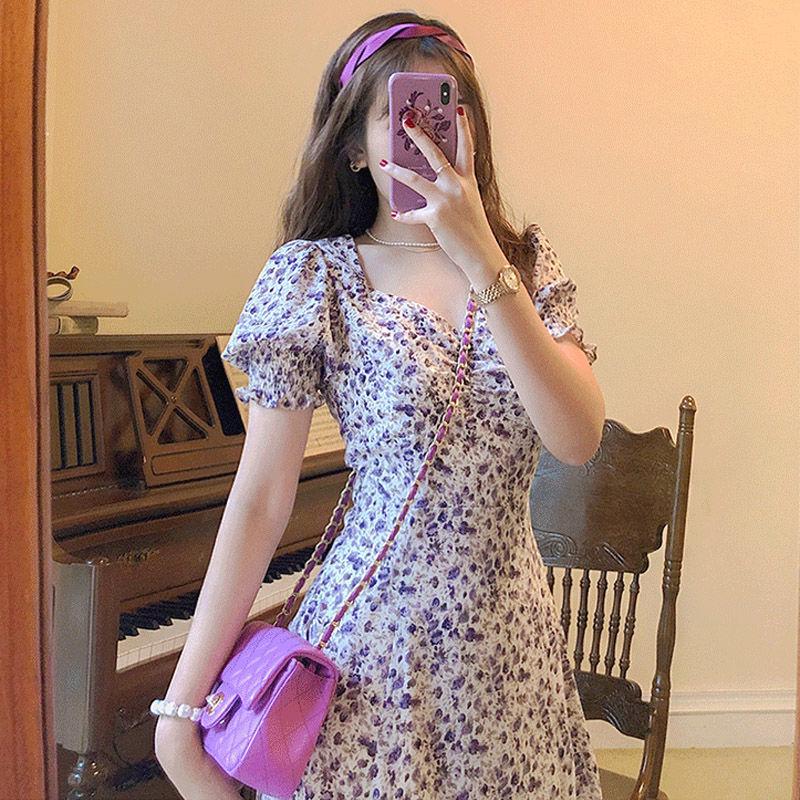2021夏季新款复古法式方领泡泡袖开叉连衣裙油画紫碎花长裙仙女裙