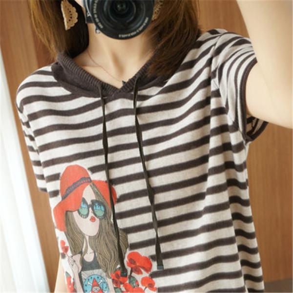 RS15113#新款宽松显瘦百搭印花条纹连帽减龄针织短袖T恤女