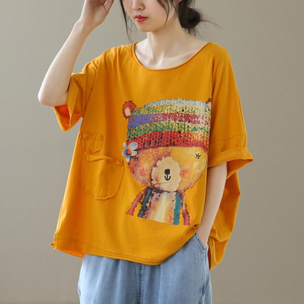 RS14905#文艺宽松圆领卡通印花百搭短袖休闲T恤