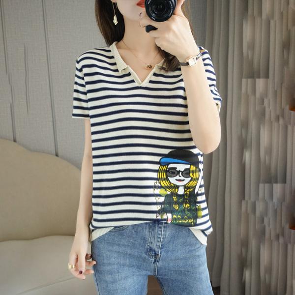 RS15114#夏季新款百搭纯棉针织短袖女纯棉V领条纹印花半袖上衣T恤薄