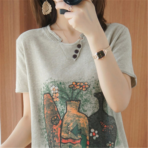 RS15116#夏季新款棉麻针织短袖女装v领宽松纯棉花半袖T恤上衣打底衫