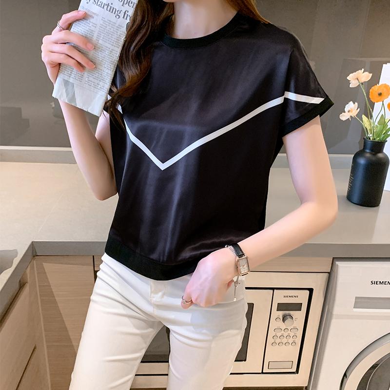 实拍夏季纯棉短袖t恤女装夏装2021年新款ins超火洋气黑色圆领上衣