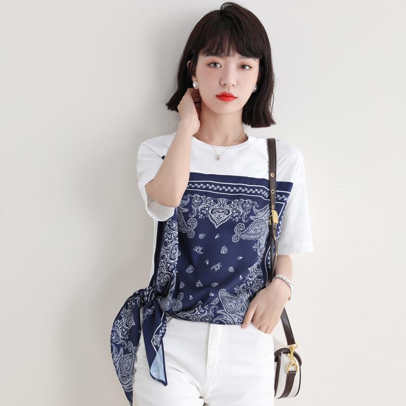 实拍圆领拼接撞色印花短袖T恤女2021夏季新款宽松雪纺衫上衣