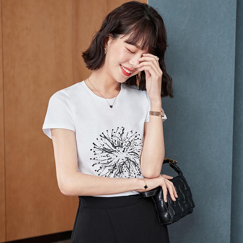 实拍2021年夏季新款t恤圆领短袖印花上衣女纯棉烟花简单体袖百搭