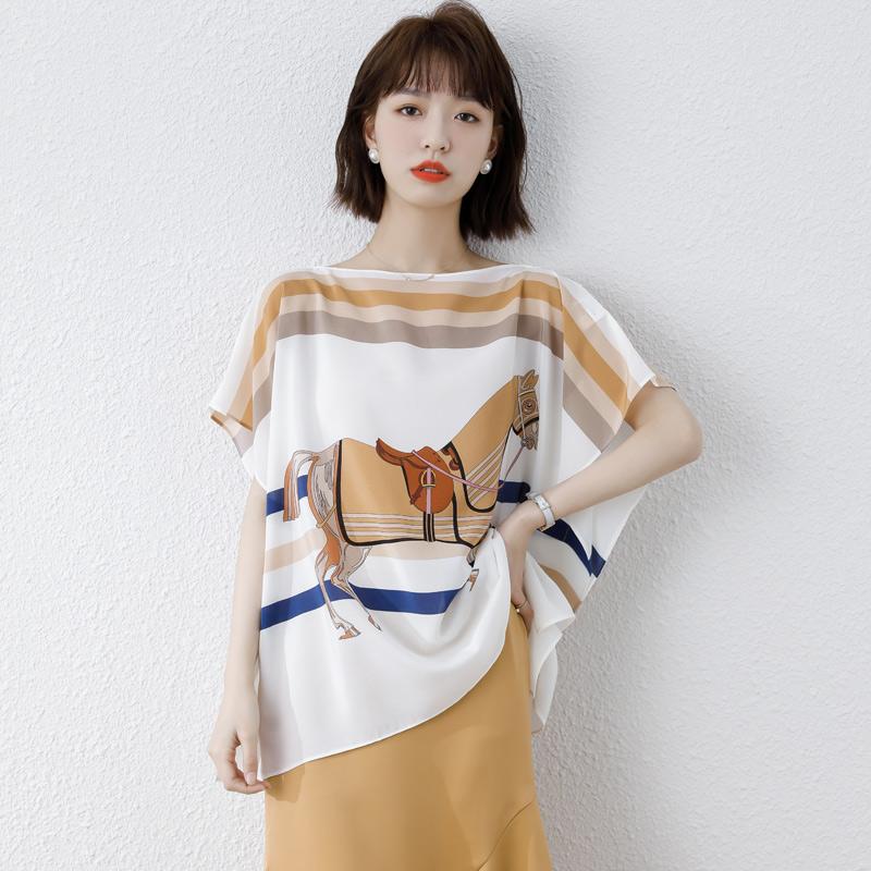 实拍2021春夏新款欧货宽松大码时尚个性薄款 桑蚕丝真丝短袖T恤潮