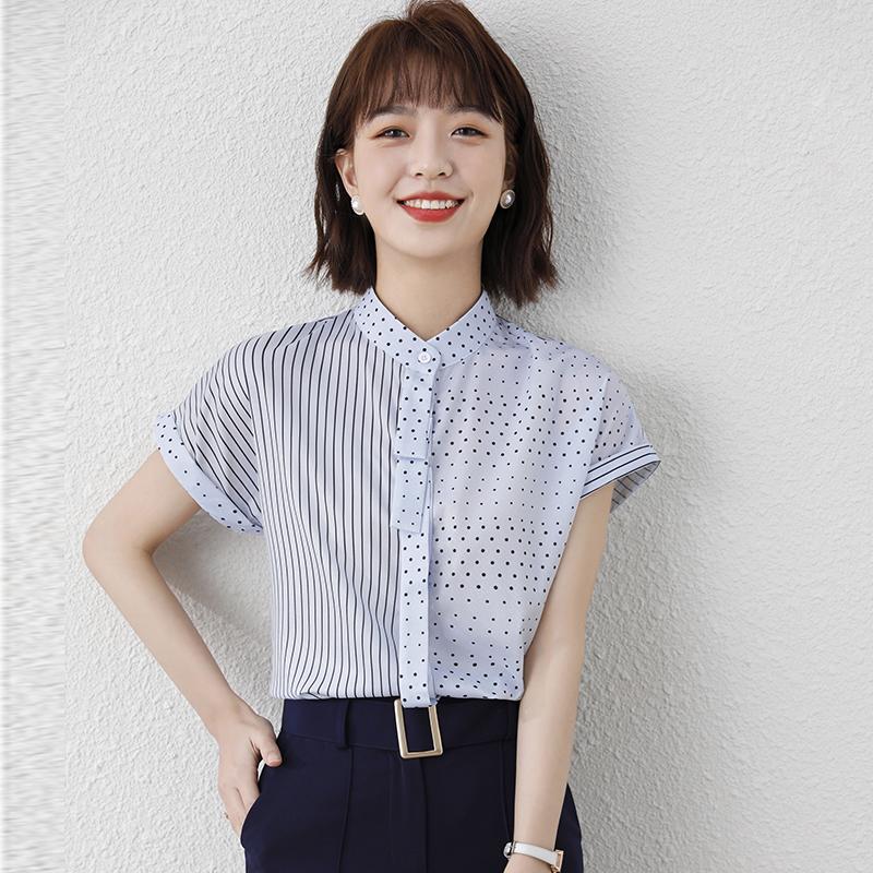 实拍短袖雪纺衫女装夏装2021年新款潮t恤气质衬衫别致上衣设计感