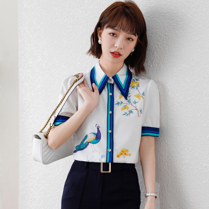 实拍2021时尚港风夏装新款女装拼色印花衬衫卡通动物图案雪纺衫女
