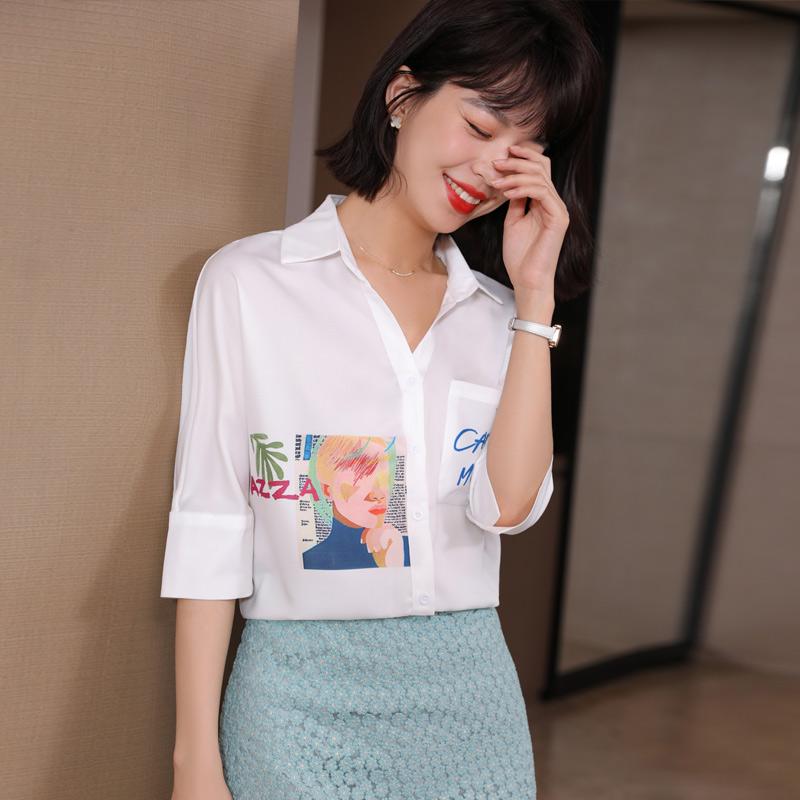 实拍新款2021洋气真丝白衬衫女设计感小众气质桑蚕丝衬衣上衣