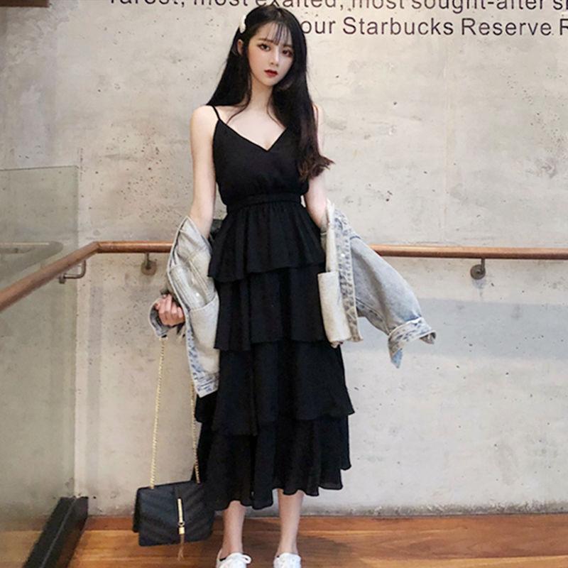 很仙的法国小众连衣裙女夏季2021新款韩版高腰中长款吊带裙蛋糕裙