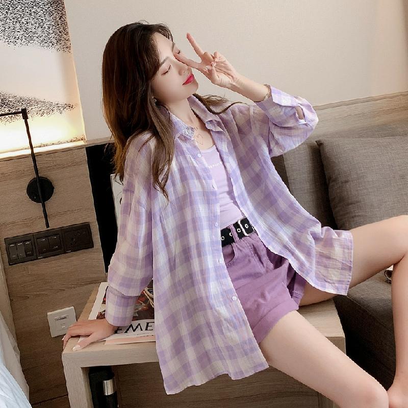 紫色防晒衣女2021新款韩版宽松慵懒风学生格子衬衫夏装薄款外套