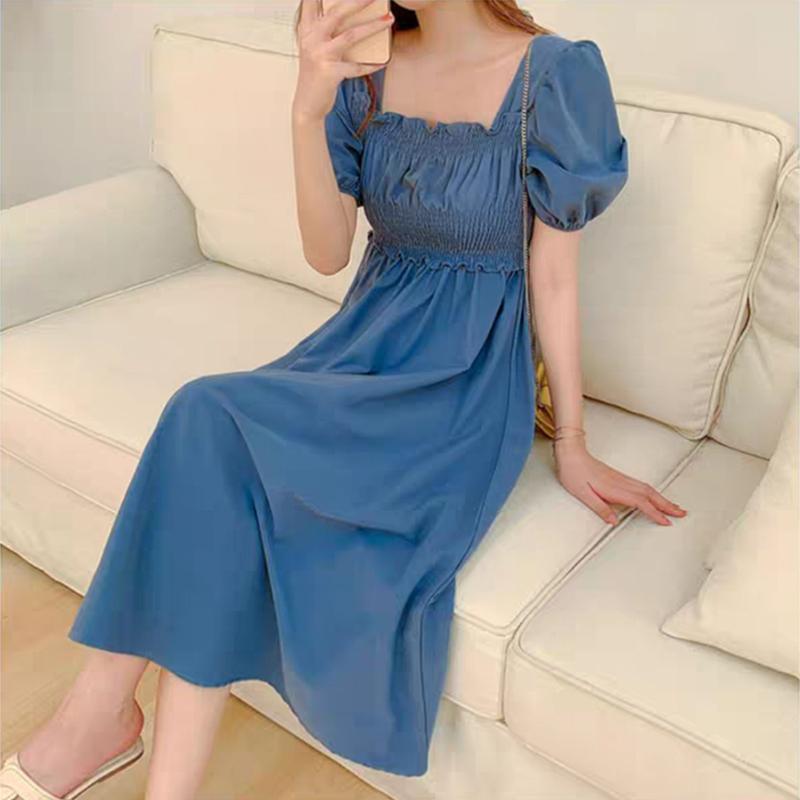2021年新款法式复古设计感小众甜美气质显瘦长裙连衣裙子女夏天