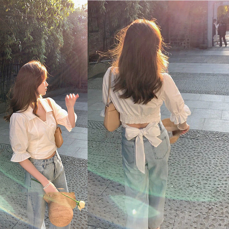 白色短款衬衫女v领设计感上衣2021泡泡袖收腰短袖衬衣