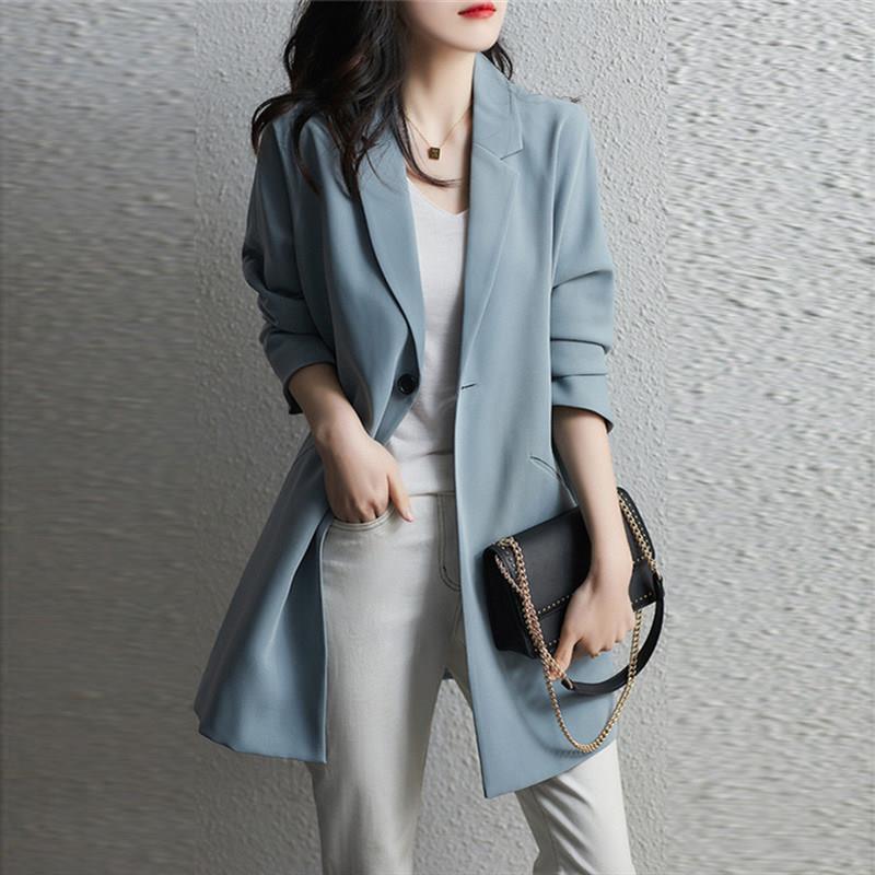 2021早春裝新款高級感網紅洋氣韓版修身氣質休閑中長款西裝外套女