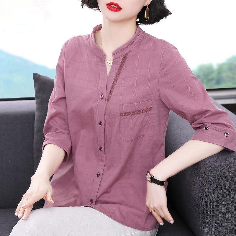 純棉襯衫女新款2021年夏季七分袖女士襯衣中長款大碼女裝夏款上衣
