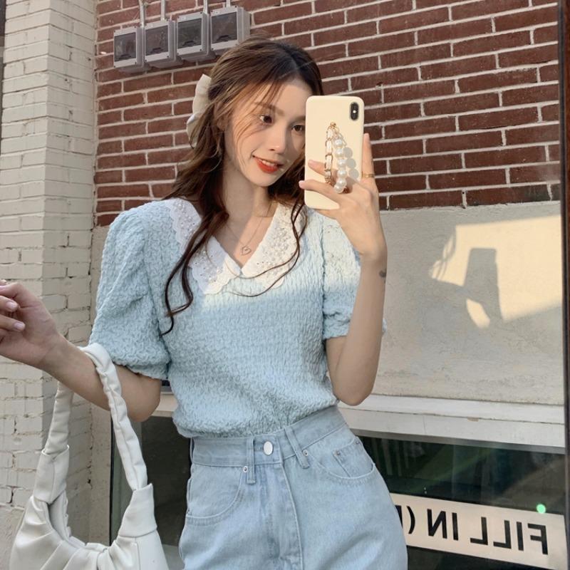 夏季韩版洋气钉珠娃娃领衬衫设计感小众皱褶泡泡袖衬衣女法式上衣