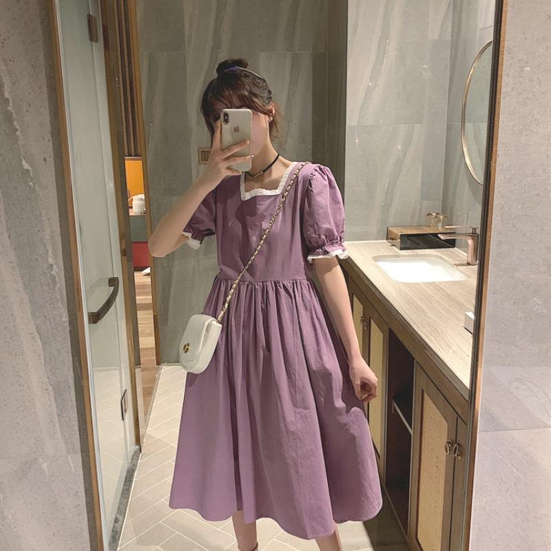 胖mm大码泡泡袖连衣裙女夏新款2021法式气质显瘦高腰方领紫色裙子