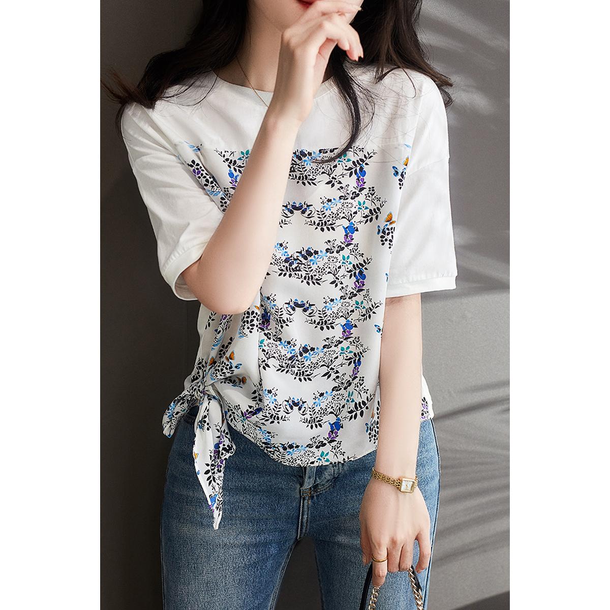 系带桑蚕丝+棉上衣设计感短袖t恤女2021年新款TX392448MG