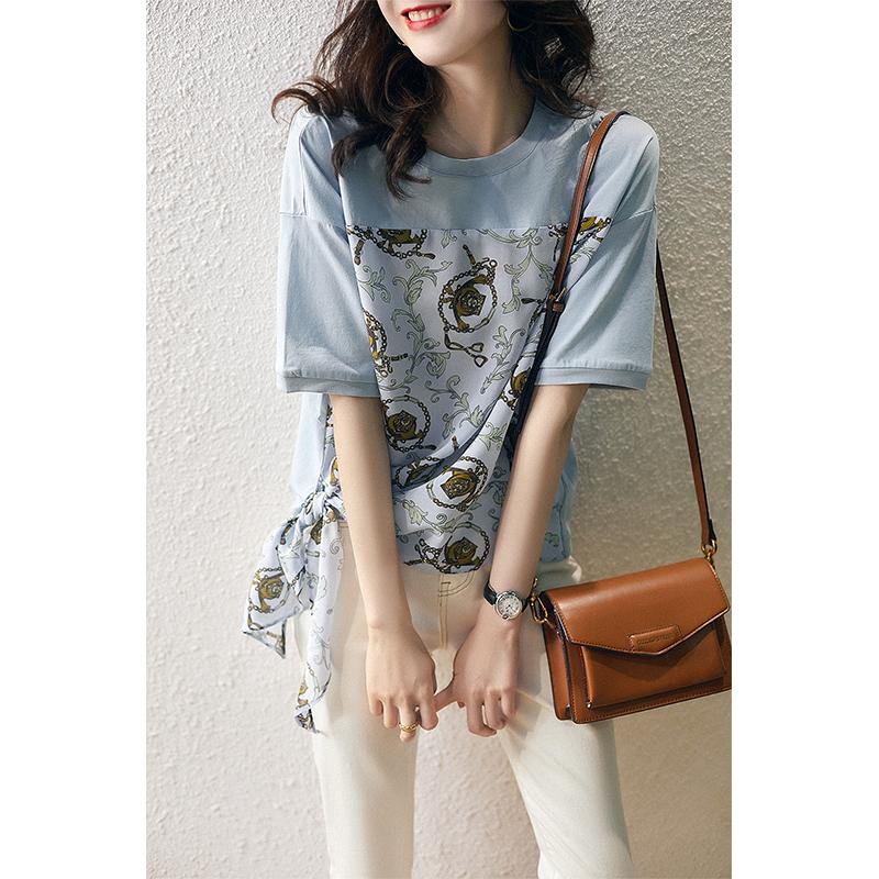宽松显瘦 时髦复古印花 桑蚕丝短袖T恤女夏季TX292766MG