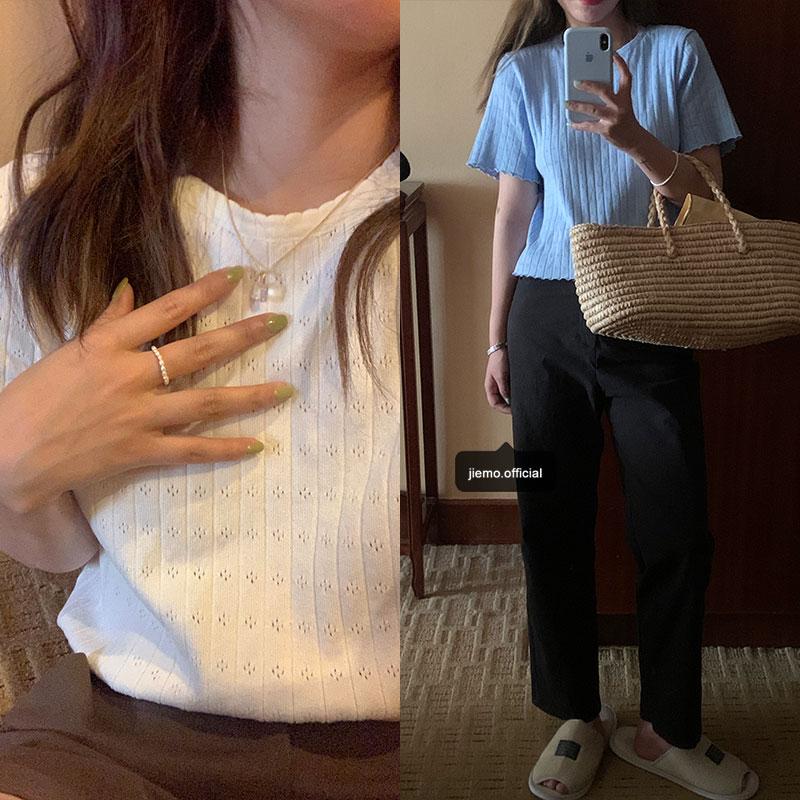芥末自制針織短袖t恤上衣女設計感小眾夏季寬松韓版短款薄款半袖