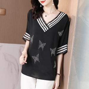 KY7575#夏季新款高弹雪纺烫钻五彩蝴蝶简约宽松减龄蝙蝠衫
