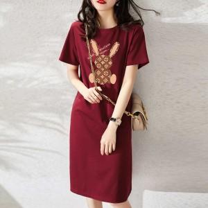 CP128#特价款!夏季法式复古时尚显瘦高端名媛女神范T恤裙