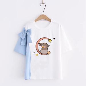 KY7583#棉日系森女系甜美印花短袖2021夏季新款学生拼色休闲上衣