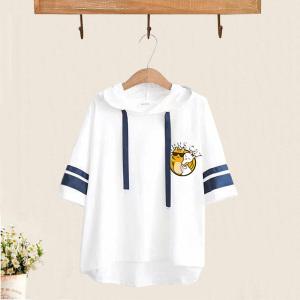 KY7582#日系学院风短袖卫衣女夏季2021新款连帽T恤衫学生上衣