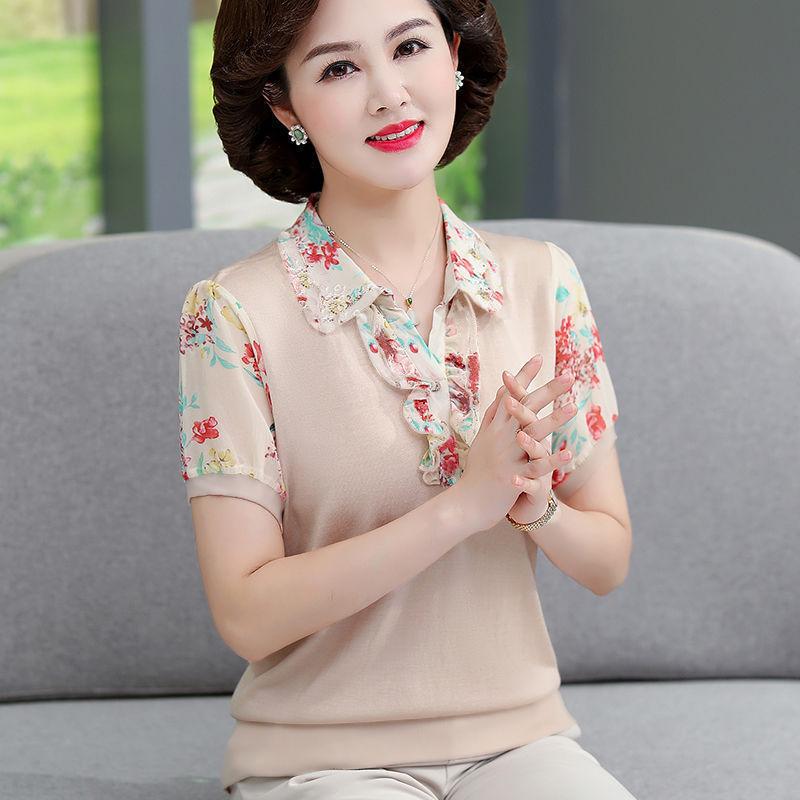 中年媽媽春裝長袖上衣薄款打底衫大碼中老年女裝夏裝短袖t恤洋氣