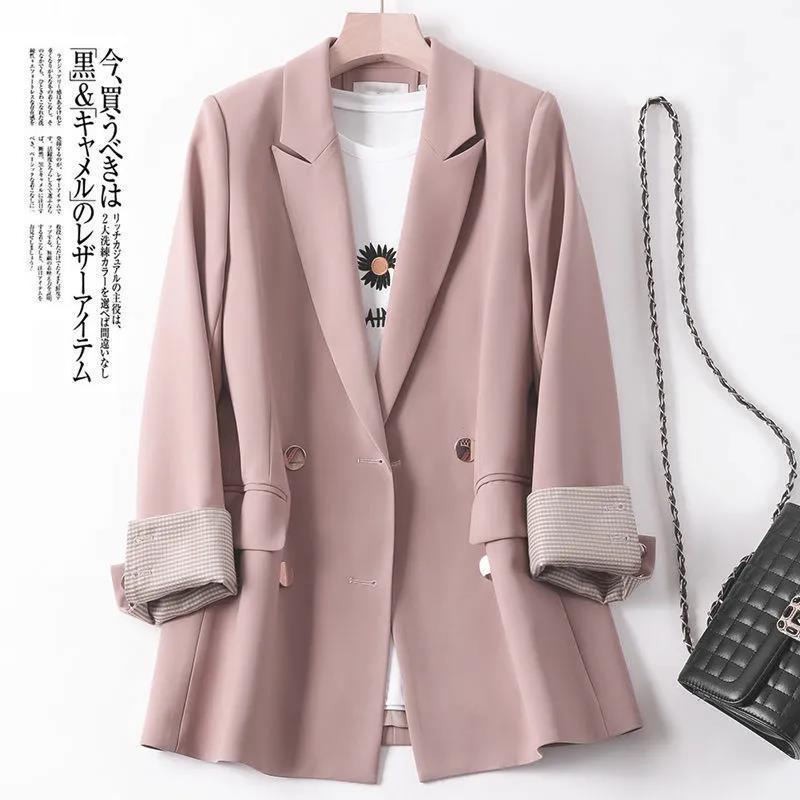 小西裝外套女薄款2021新款爆款高級感夏季休閑上衣春秋西服藕粉色