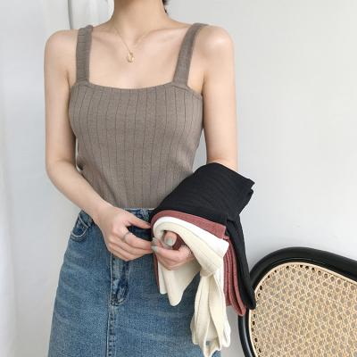 冰丝针织吊带内搭打底短款平口上衣宽松韩版宽带无袖背心女夏外穿