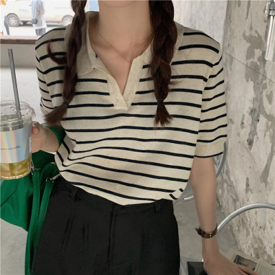 慵懒风条纹短袖T恤女夏季2021新款韩版宽松百搭V领半袖上衣ins潮