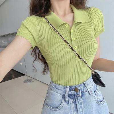 2021夏季网红修身显瘦短款上衣韩版复古小翻领短袖针织T恤女