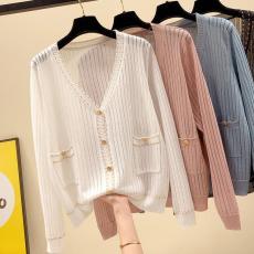 春夏新款亮丝口袋冰丝针织开衫女薄款小外套宽松镂空防晒上衣长袖