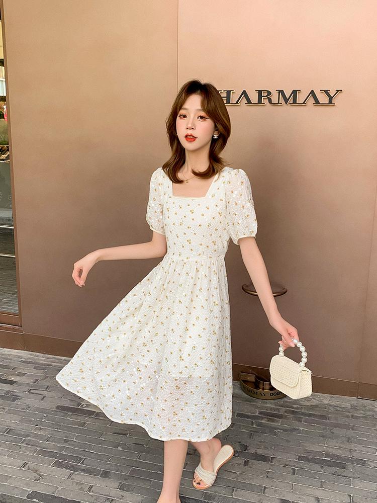 小谷粒碎花系帶連衣裙女2021年夏季薄款長裙法式小個子顯瘦裙子